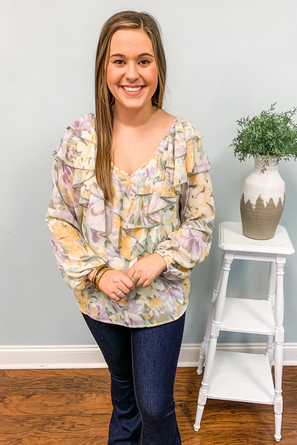 YELLOW & LAVENDER FLORAL RUFFLE TOP
