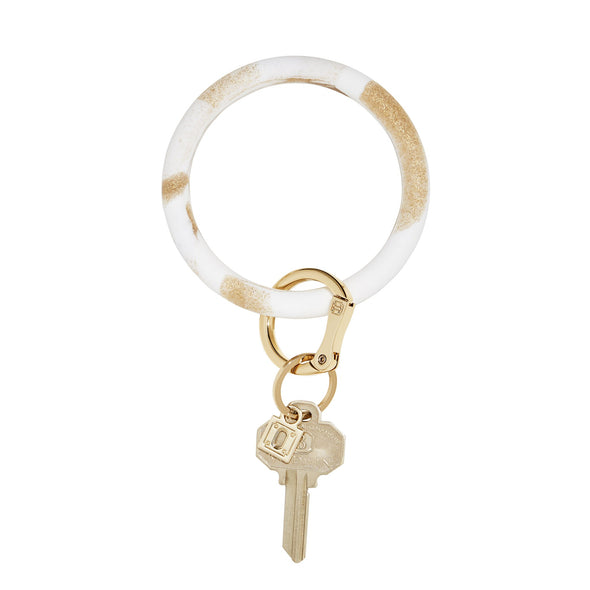 BIG O SILICONE KEY RING IN GOLD RUSH MARBLE