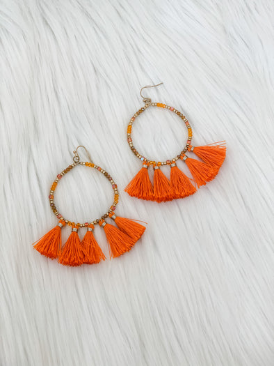 ORANGE FOUR TASSEL DROP EARRING