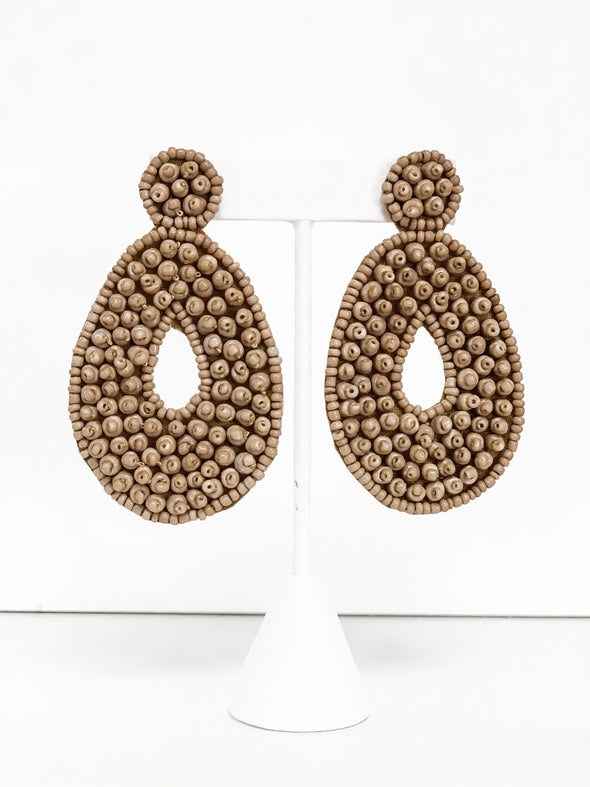 TAUPE BEADED TEARDROP EARRINGS