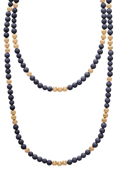 "41"" NECKLACE DIGNITY GOLD 6MM BEAD, HEMATITE"