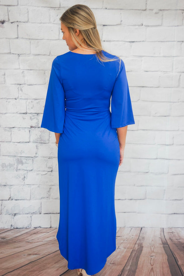 SOLID TWIST FRONT DRESS IN ROYAL