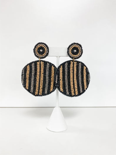 BLACK STRIPED ROUND BEADED EARRING