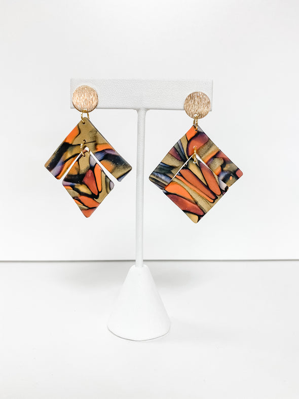 STAINED GLASS SQUARE DANGLE EARRINGS