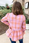 PURPLE & ORANGE PLAID PEPLUM TOP