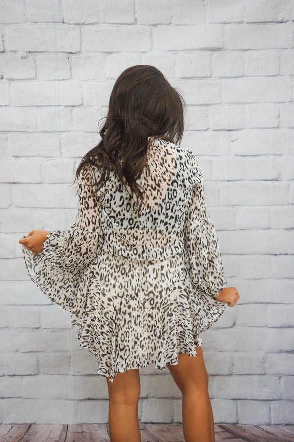 LEOPARD PLACKET DRESS