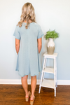 BLUE POCKET SWING DRESS