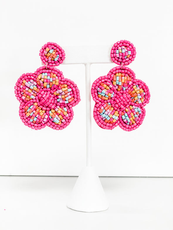 PINK BEADED FLOWER EARRINGS