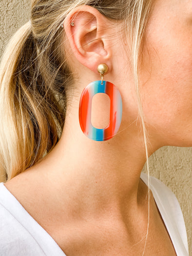 PARTY IN THE USA OVAL DROP EARRING