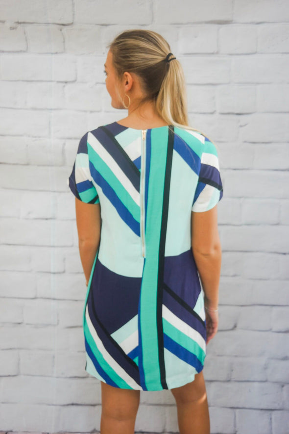 BLUE COLOR BLOCK DRESS