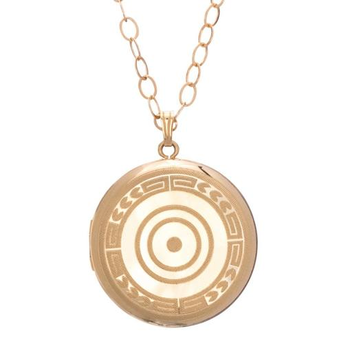 "18"" NECKLACE GOLD, CHERISH MEDIUM GOLD LOCKET"