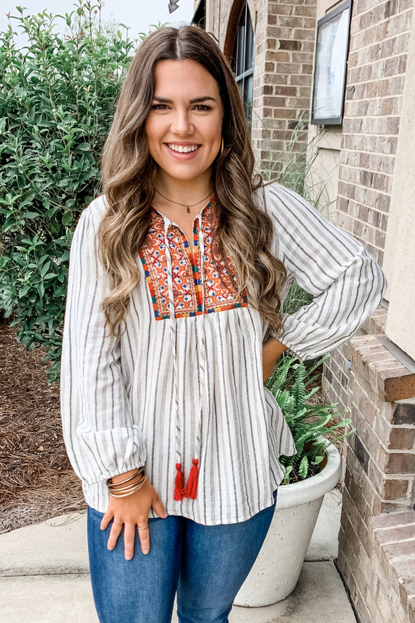 STRIPED BOHO EMBROIDERED TOP