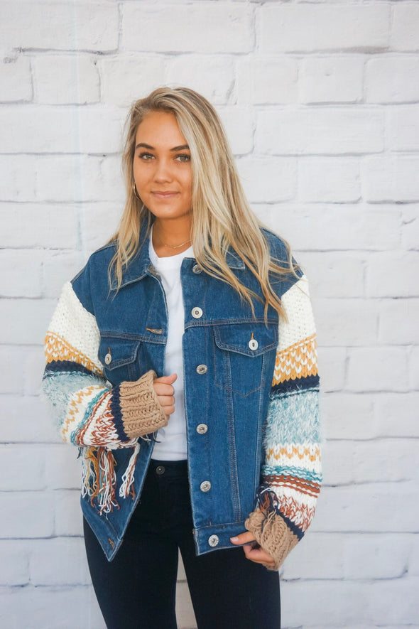 DENIM JACKET WITH KNIT SLEEVES
