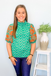 GREEN ABSTRACT PUFF SLEEVE TOP
