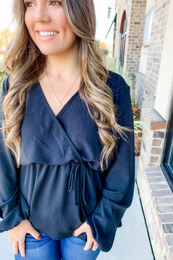 BLACK FAUX WRAP PEPLUM TOP