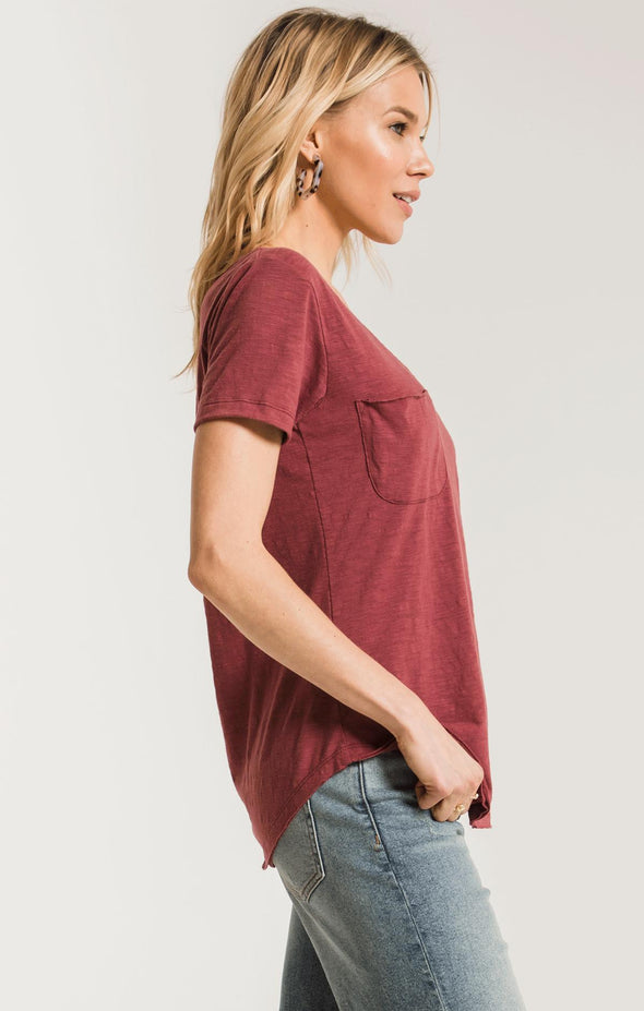 THE AIRY SLUB POCKET TEE - CRUSHED BERRY