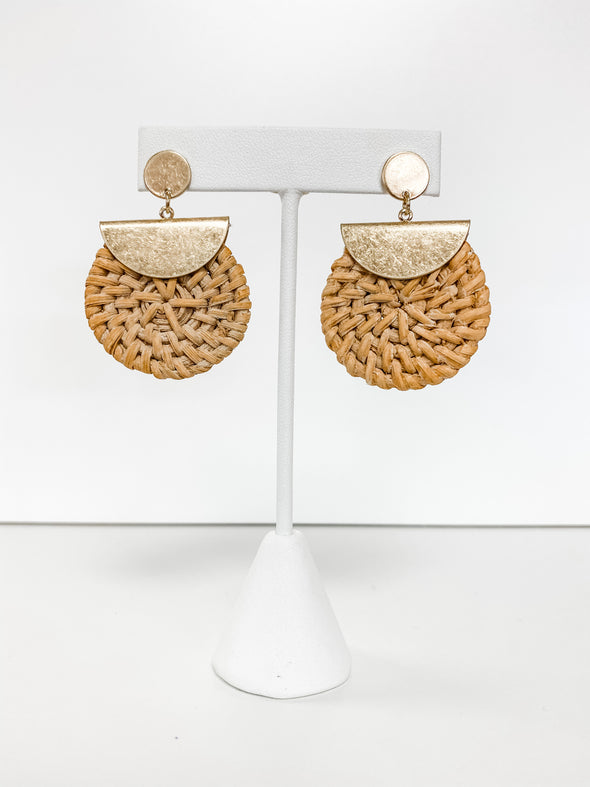 GOLD & TAN RATTAN DISC EARRINGS