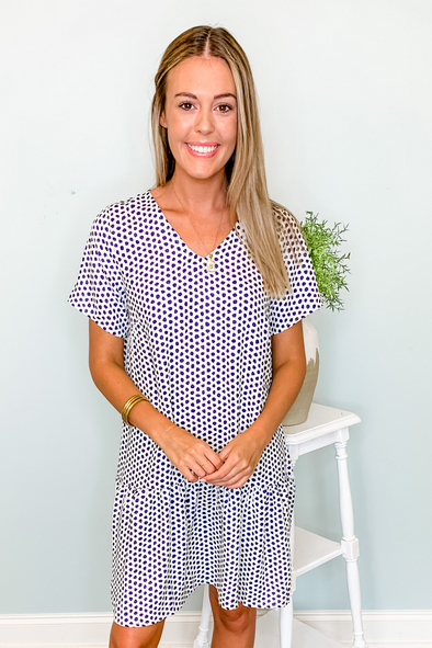 NAVY SPECKLED WITH LOVE FARRAH DRESS
