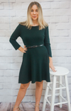 HUNTER GREEN WOVEN DRESS