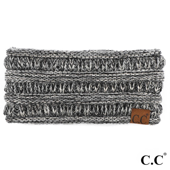 HEADBAND KNIT RIBBED GREY/BLACK MARBLE