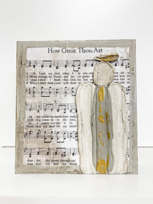 "HOW GREAT THOU ART WITH ANGEL BLOCK, 6""x6"""