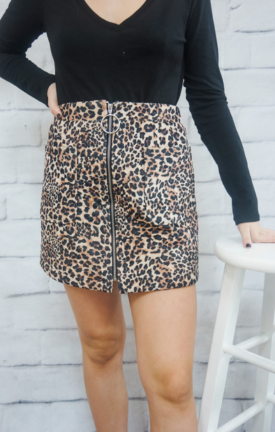 LEOPARD QUILTED SKIRT