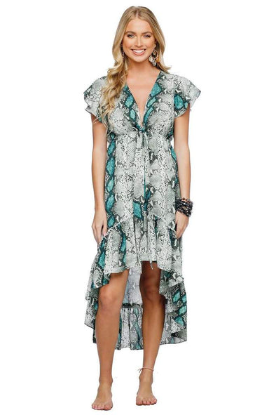 MISSY RUFFLED HIGH-LOW DRESS - EMERALD