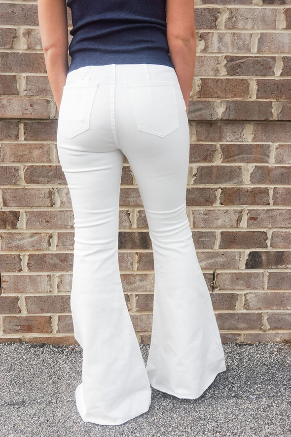BUDDYLOVE WHITE HIGH WAISTED MOONSHINE JEANS