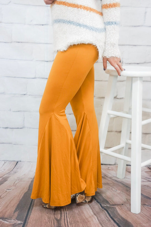 MUSTARD HIGH WAIST BELL BOTTOMS