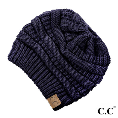 NAVY BEANIE W/ PONY TAIL