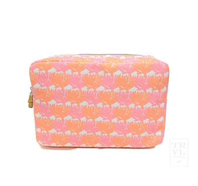 BIG GLAM BEAUTY BAG, TWILL FLORA STRIPE SHELL PINK