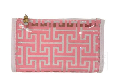 DAY TRIPPER BEAUTY BAG, CLEAR PINK TRELLIS
