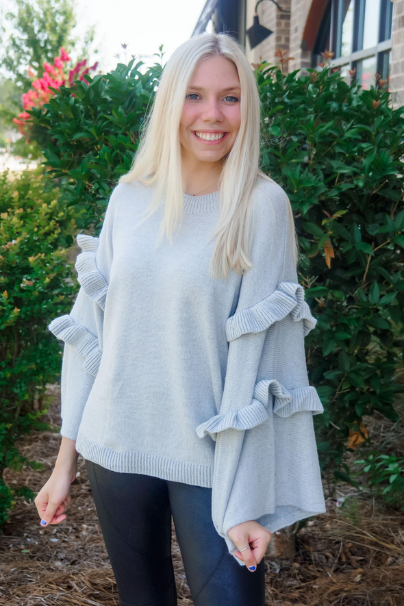 RAMSEY GREY RUFFLE SWEATER