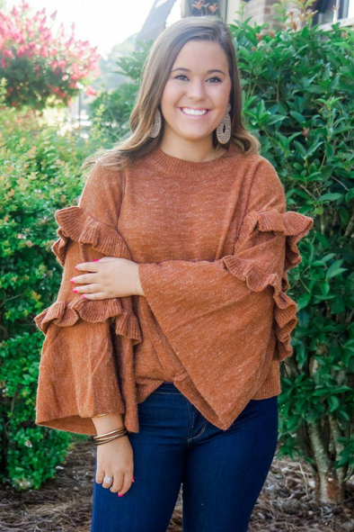 RAMSEY RUST RUFFLE SWEATER