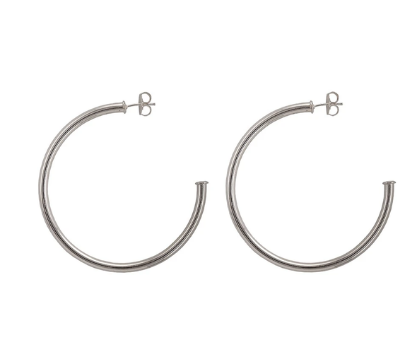 SHEILA FAJL: EVERYBODY'S FAVORITE HOOP EARRINGS IN BRUSHED SILVER