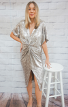 KARLIE METALLIC SNAKE TWIST FRONT DRESS