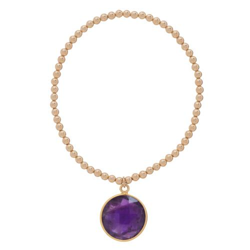 CLASSIC GOLD 3MM BEAD BRACELET, REGAL AMETHYST CHARM