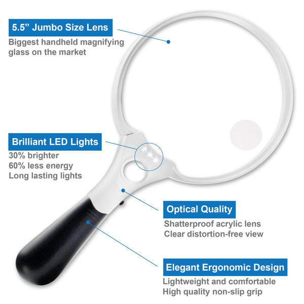 ProPower Jumbo LED Lighted Magnifying Glass, 2x 4x 10x - ShopFancii.com
