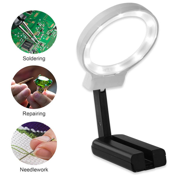 Hands Free Magnifying Glass with Light & Stand, 2x 4x - ShopFancii.com