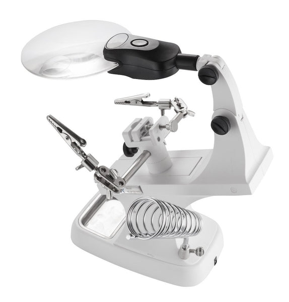 LED Lighted Helping Hands Workstation with Magnifier - 2X 4X - ShopFancii.com