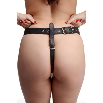 Slim Leather Strap On Harness Kit with Dildo