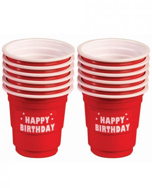 Happy Birthday Plastic Shot Glasses Red Set Of 12