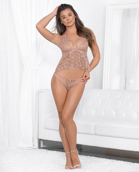 Eyelash Cami Adjustable Straps & Panty Dusty Rose Lg