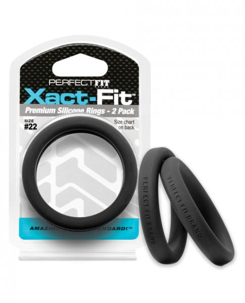 Perfect Fit Xact-Fit #22 2 Pack Black Cock Rings