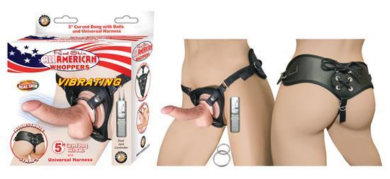 All American Whoppers 5 inches Curved Dong with Balls Beige & Universal Harness