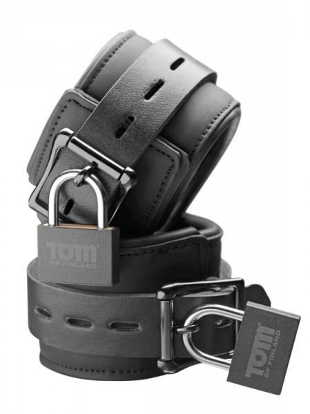 Tom Of Finland Neoprene Wrist Cuffs, Locks Black