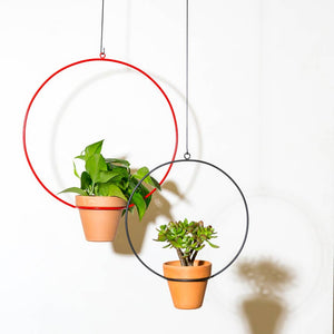 "NewMade LA - Hanging Circle Planter 10"",Red"