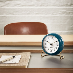 Arne Jacobsen  Station Alarm Clock - Petrol Blue