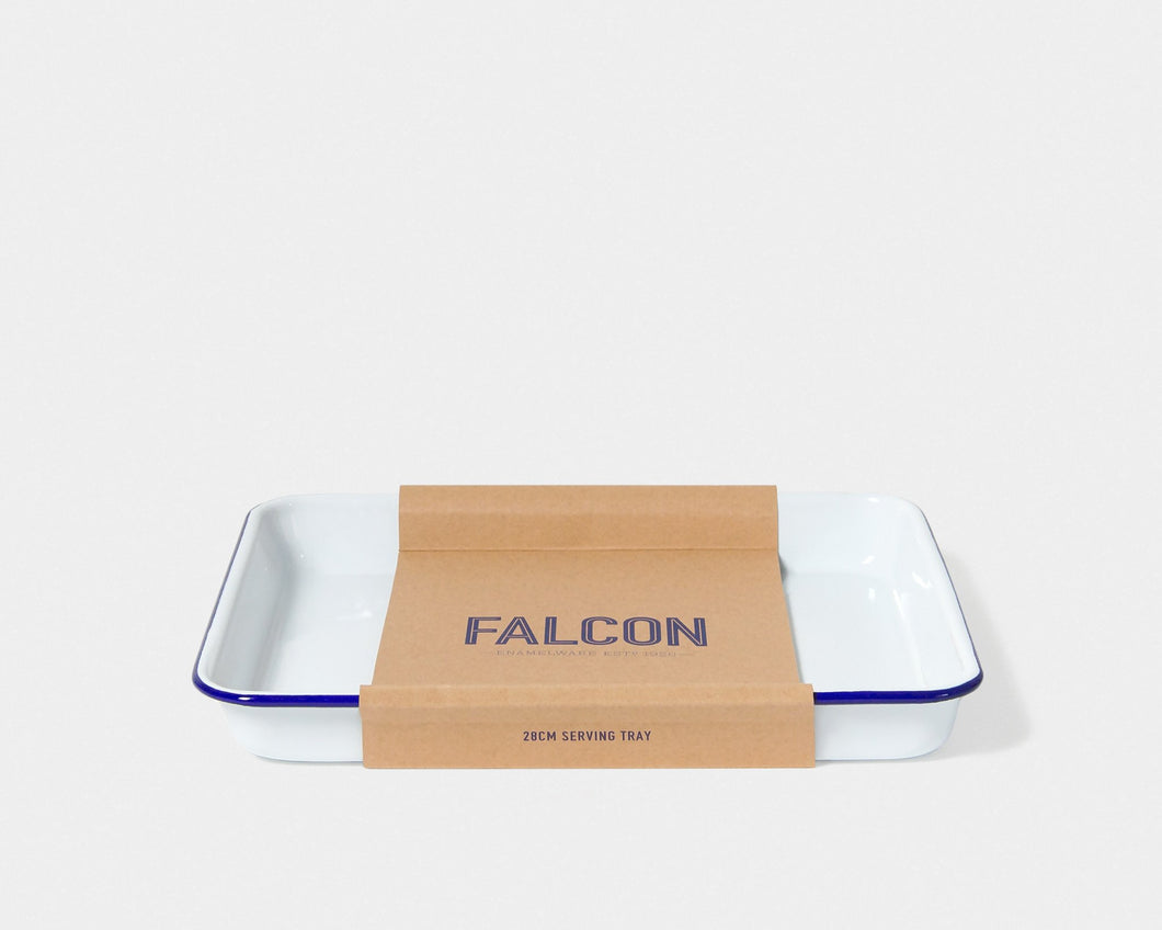 Falcon Enamelware-Serving Tray, White with Blue Rim