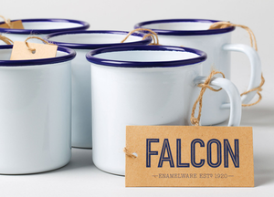 Falcon Enamelware- Mug, Original White with Blue Rim